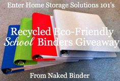 Naked Binder is a great place for eco-friendly recycled binders for school and home office supplies. Enter the giveaway on or before August 10, 2012 for approximately 30 dollars worth of binders, folders and tabs.
