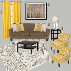 yellow curtains for my grey and black living room