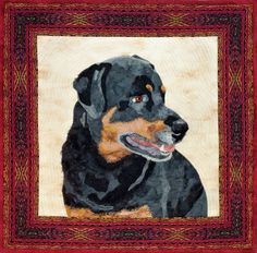 """""""Zeus, The Gentle Giant"""" wall quilt by Cindy Garcia   animal portrait quilts"""