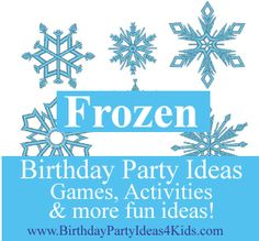 Frozen Birthday Party Ideas - Unique games, activities, icebreakers and ideas for decorations, party favors, food and more!    Great ideas!!   http://www.birthdaypartyideas4kids.com/frozen-party-ideas.html