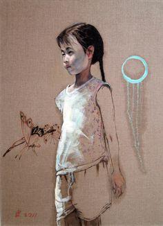 "Hung Liu. Village Portrait-Girl, 2011. oil on linen. 33"" x 24"""