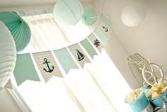 Nautical Banner in Mint Stripes and Navy. $20.00, via Etsy.