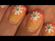 Summer Flower Short Nails Tutorial -- I love this, but would try on my big toe (not my fingernails). Awesome technique.