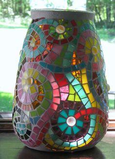 Swirly Flower Mosaic Vase