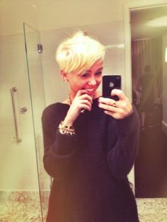 Loving @MileyCyrus' new short blonde do! Very bold & fierce!! #hairstyles #shortcuts