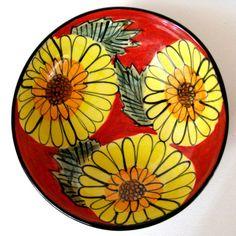 Stoneware Handmade Sunflower Bowl   Sunflower by JoyceSloanim, $40.00