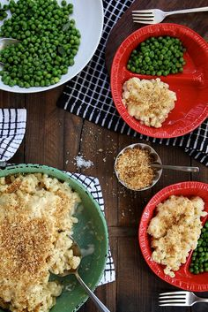 Classic Mac and Cheese with Minty Peas