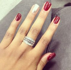red nails with silver, ring, red silver, holiday nails, makeup