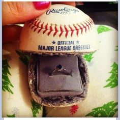 Baseball engagement ring box--when Kate gets in a serious relationship, I'll have to be sure to share this with her guy