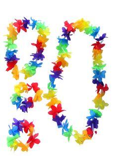 Collar, pulseras y adorno para la cabeza de flores. Perfecto para fiestas hawaianas o ibicencas.