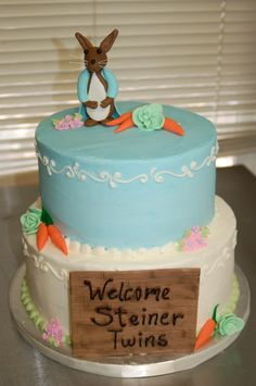 ... Rabbit themed baby shower cake by Cake is the Best Part, Redding, CA