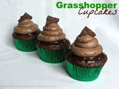 Grasshopper Cupcakes.  Chocolate cake topped with mint chocolate ganache & grasshopper buttercream frosting.