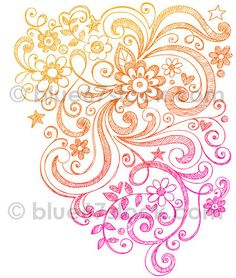 Hand-Drawn Sketchy Flowers and Swirls Doodle Vector Illustration | Flickr - Photo Sharing!