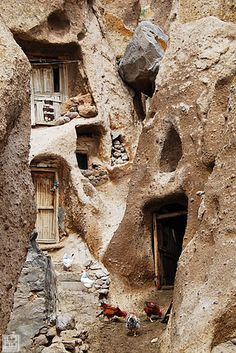 Kandovan (also spelled Candovan[citation needed]) is a tourist village in the province of East Azarbaijan, near Osku and Tabriz, Iran. Its fame is due to its troglodyte dwellings.[1] Some of the houses are at least 700 years old and are still inhabited. Kandovan is also known for its scenic beauty. A popular resort, it offers hotels and restaurants to serve tourists. Its mineral water is also popular with visitors and is believed to be a cure for kidney disease.