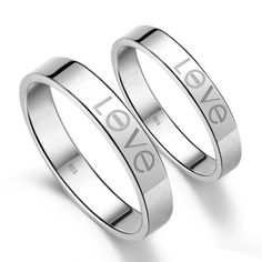 Promise Rings for Her and Him Personalized Names Set of 2