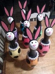 bowling pin bunnies www.recycledsmiles.com