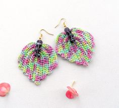 Crochet Necklace and Earrings Leaves Set by CraftsbySigita on Etsy,