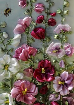 abulous canvas of ribbon flowers floral patterns, ribbonwork, silk ribbon embroidery, closeupdetail, blog, ribbon embroideri, canvases, ribbon work, ribbon flower