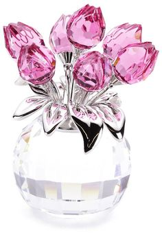 crystal rose, leav, roses, pink, swarovski crystals