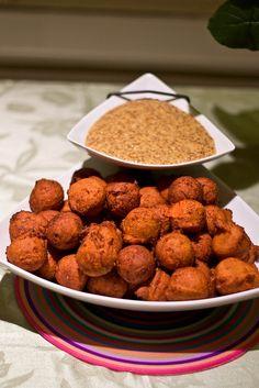 Sweet potato balls!   I baked mine instead of frying abd they tasted like tiny sweet potato pies!