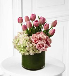 Tulips, hydrangea and roses