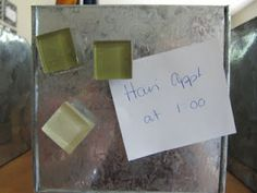 Glass tile as magnets...love this. Great way to use up my leftover tile!