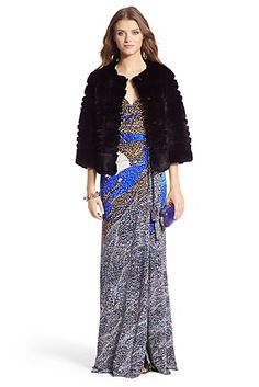 DVF Sonia Silk Jersey Maxi Gown In Mountain Jewels New