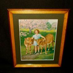 Farmyard Friends Calendar Print of Girl with Cows