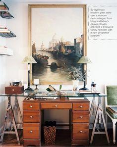 glass desk over wooden