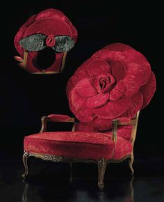 armchair, red roses