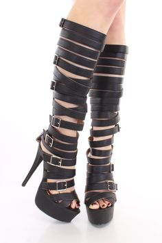 Add glamour to any outfit with these sexy platform gladiator heels! They will look super hot paired with your favorite skinnies or dress. Make sure you add these to your closet, it definitely is a must have! Featuring faux leather upper, peep toe, strappy shaft with buckles, back zipper closure, stitched detailing, smooth soles, and finished with a cushioned footbed. Approximately 6 inch heel, 2 inch platform, 15 inch shaft, 17 inch circumference.