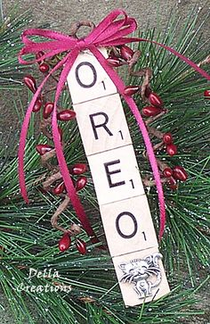 Personalized Scrabble Ornament for Your Cat with a Pewter Cat Charm!  #Ornament   #Cat   #Personalized   #Scrabble   #Handcrafted