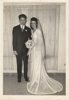 Wedding gown made from husband's WWII parachute