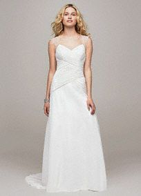 This striking chiffon A-line gown is both beautiful and timeless!  Chiffon gown features stunning beaded cap sleeve detail and chic cut out back.  Criss-cross ruching on bodice provides a flattering focal point.  Chapel train. Sizes 0-14.  Available in stores and online in Soft White. White available for special order in stores only.  Petite: Style 7V3688. Sizes 0P- 14P.  Special order only. Woman: Style 9V3688. Sizes 16W- 26W.All stores, select sizesand special order.   Fully ...