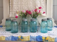 Had to have these vintage blue ball jars!