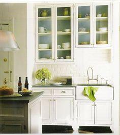 Pretty glass cabinets for pretty glass dishes. kitchen accents, green kitchen, farm kitchens, kitchen interior, design kitchen, subway tiles, kitchen designs, kitchen cabinets, white kitchens