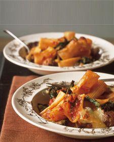 Baked Rigatoni with Sausage Meatballs & Broccoli Rabe