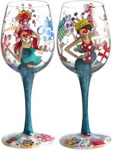 Bottom's Up 15-Ounce Happy Birthday Hand painted Wine Glass