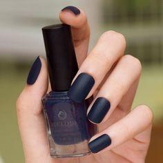 love this! blue-black matte nail polish