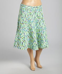 Love this Turquoise & Lime Leaf A-Line Skirt - Women & Plus on #zulily! #zulilyfinds