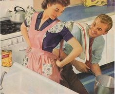 Apron wife - image originally from 1940s magazine ad