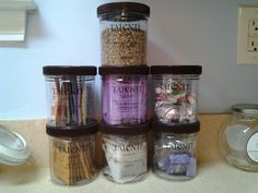 We reuse our adorable Talenti Gelato containers to hold things such as tea, spices, and candy.
