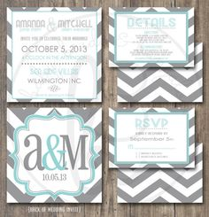 5.25 x 5.25 Square, Modern Monogram and Chevron Wedding Invitation with response and details card. Printable and Customizable