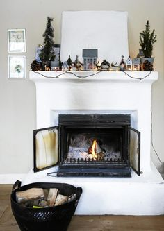 Fireplace with christmas decorations.