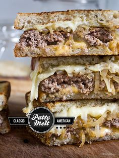 Patty Melt. A patty melt combines the best attributes of a burger with the comforting meltiness of a grilled cheese: A thin hamburger patty, tons of Swiss cheese, caramelized onions, served on crispy rye bread, grilled in butter.