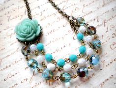 Bib Necklace - Flower Necklace - Turquoise  Necklace