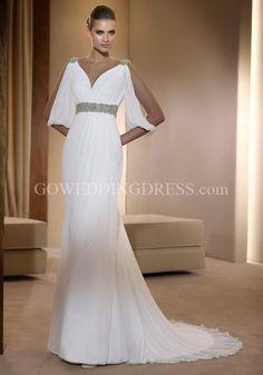 manche wedding dressses, goddesses, gowns, dresses, grecian goddess, beach weddings, chiffon, greek style, sleeves