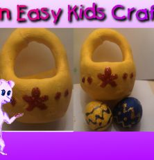 Cute toddler Easter basket craft using play dough. Free recipe for Easter play dough on our website at funeasykidscrafts.com
