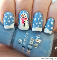 Blue and white Christmas nails