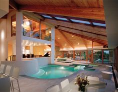 interior design, indoor pool, swimming pools, living rooms, modern exterior, dream homes, inside houses, pool houses, pool designs
